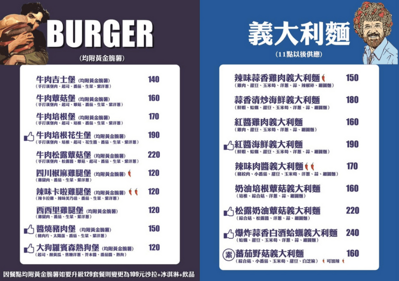 Treasure Burger菜單
